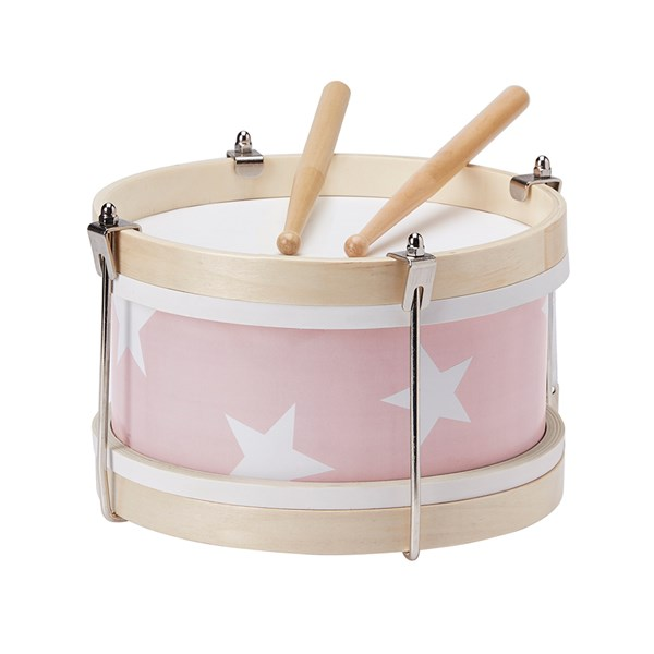 Children's Wooden Toy Drum in Pink