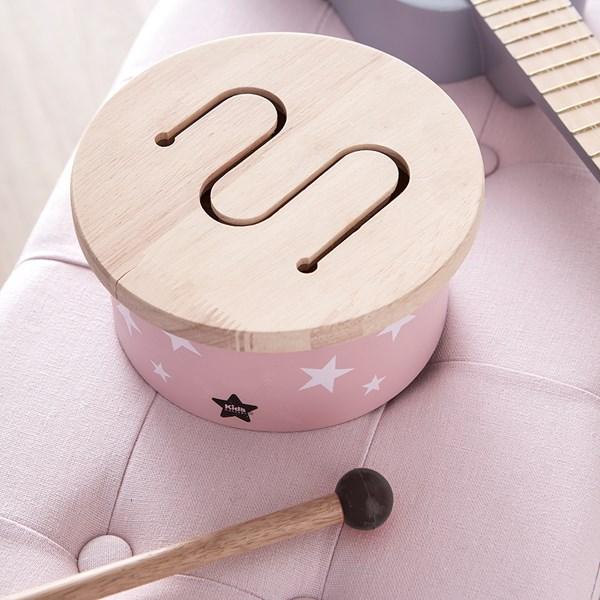 Children's Mini Wooden Toy Drum in Pink