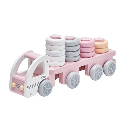 CHILDREN'S WOODEN STACKING TOY TRUCK in Pink