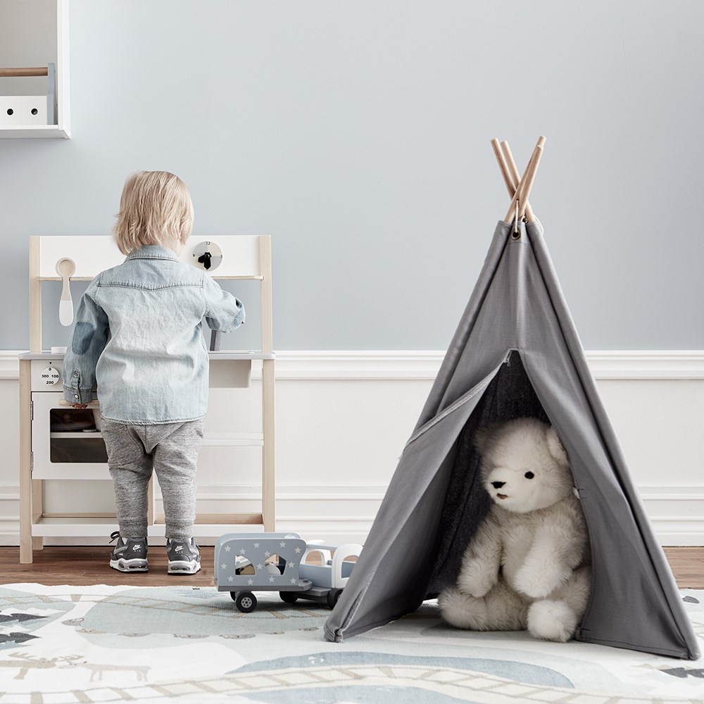 online retailer 35cd8 d8721 Kids Concept Mini Teepee Play Tent in Grey