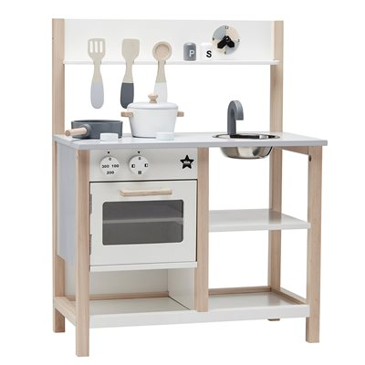 CHILDREN'S WOODEN TOY KITCHEN SET in White and Natural