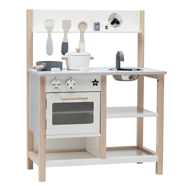 children 39 s wooden toy kitchen set in white and natural toys for girls cuckooland. Black Bedroom Furniture Sets. Home Design Ideas