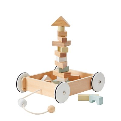 CHILDREN'S WOODEN WAGON WITH BUILDING BLOCKS