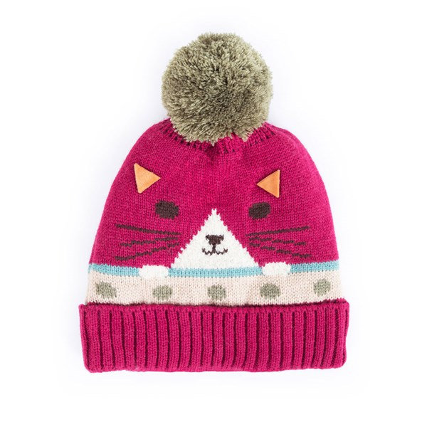 Powder Kids Cosy Cat Hat in Berry