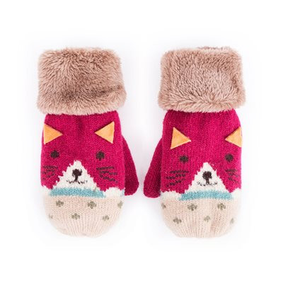 Powder Kids Cosy Cat Mittens in Berry