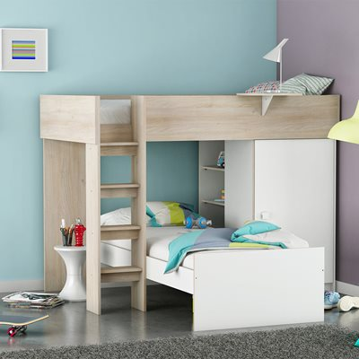 KIDS DYLAN BUNK BED in Acacia and White