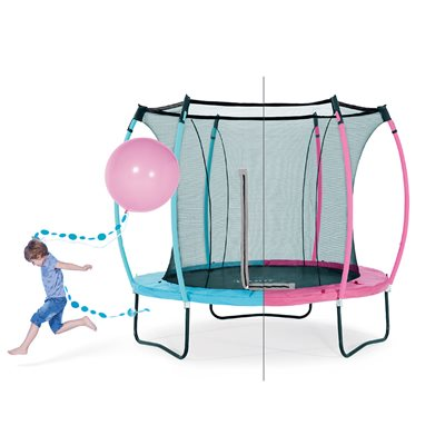 PLUM COLOURS SPRINGSAFE TRAMPOLINE in Turquoise and Pink