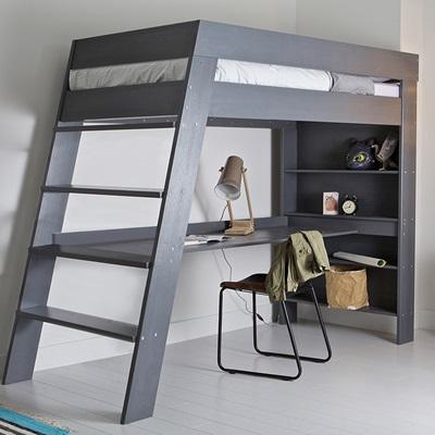 JULIEN KIDS LOFT BED & DESK in Brushed Grey Pine