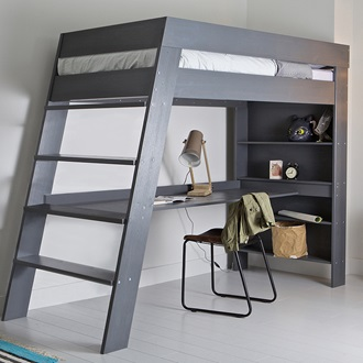 Julien kids loft bed desk in brushed grey pine single Kids loft bed with desk