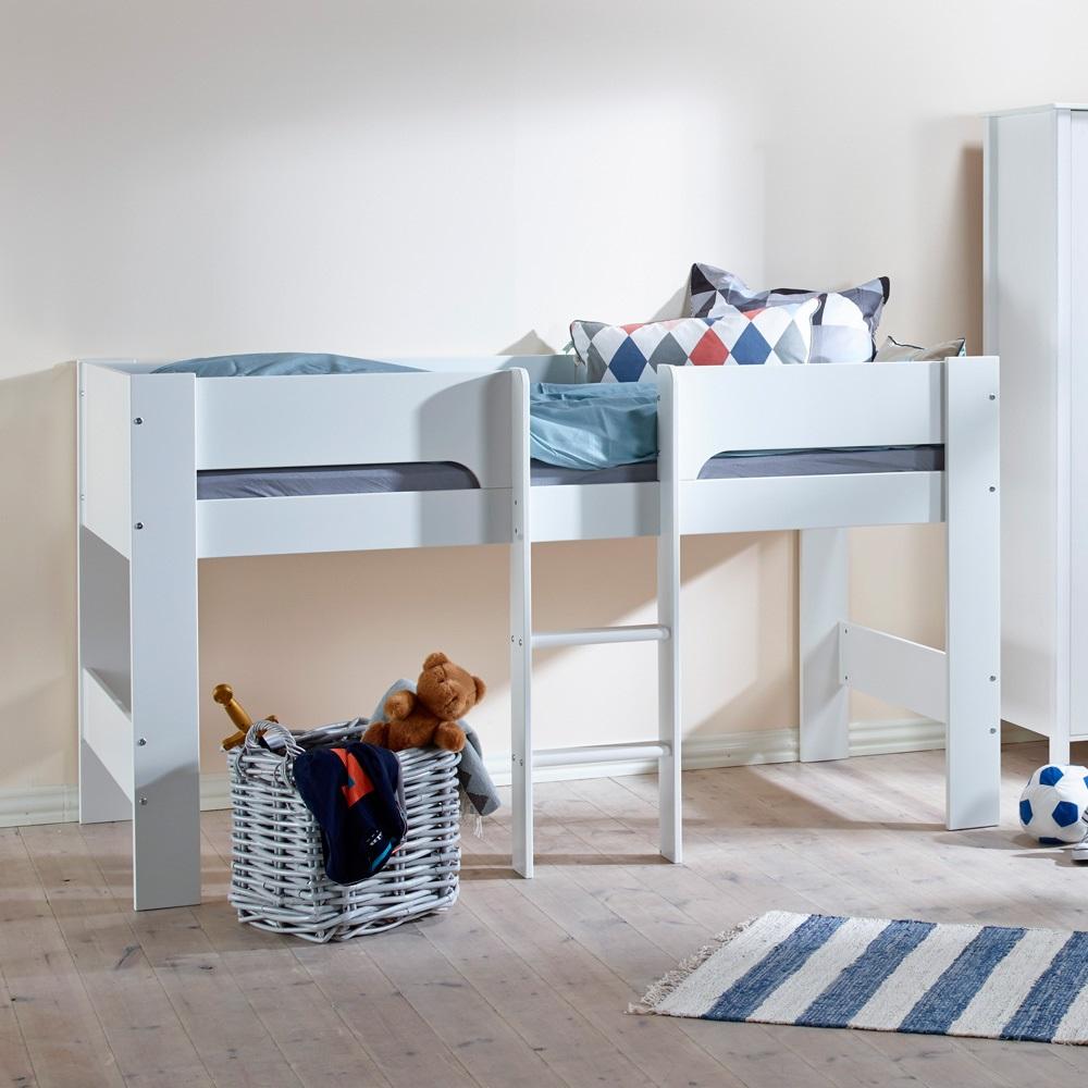 Kids Heidi Mid Sleeper in White - Single Beds | Cuckooland
