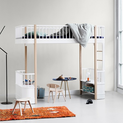 CHILDREN'S LUXURY HIGH LOFT BED in White & Oak with Storage