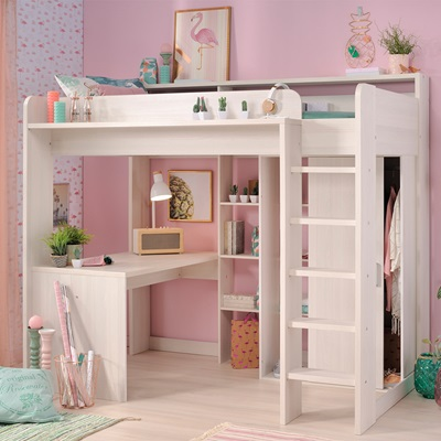 PARISOT HIGHER KIDS HIGH SLEEPER BED with Desk and Wardrobe