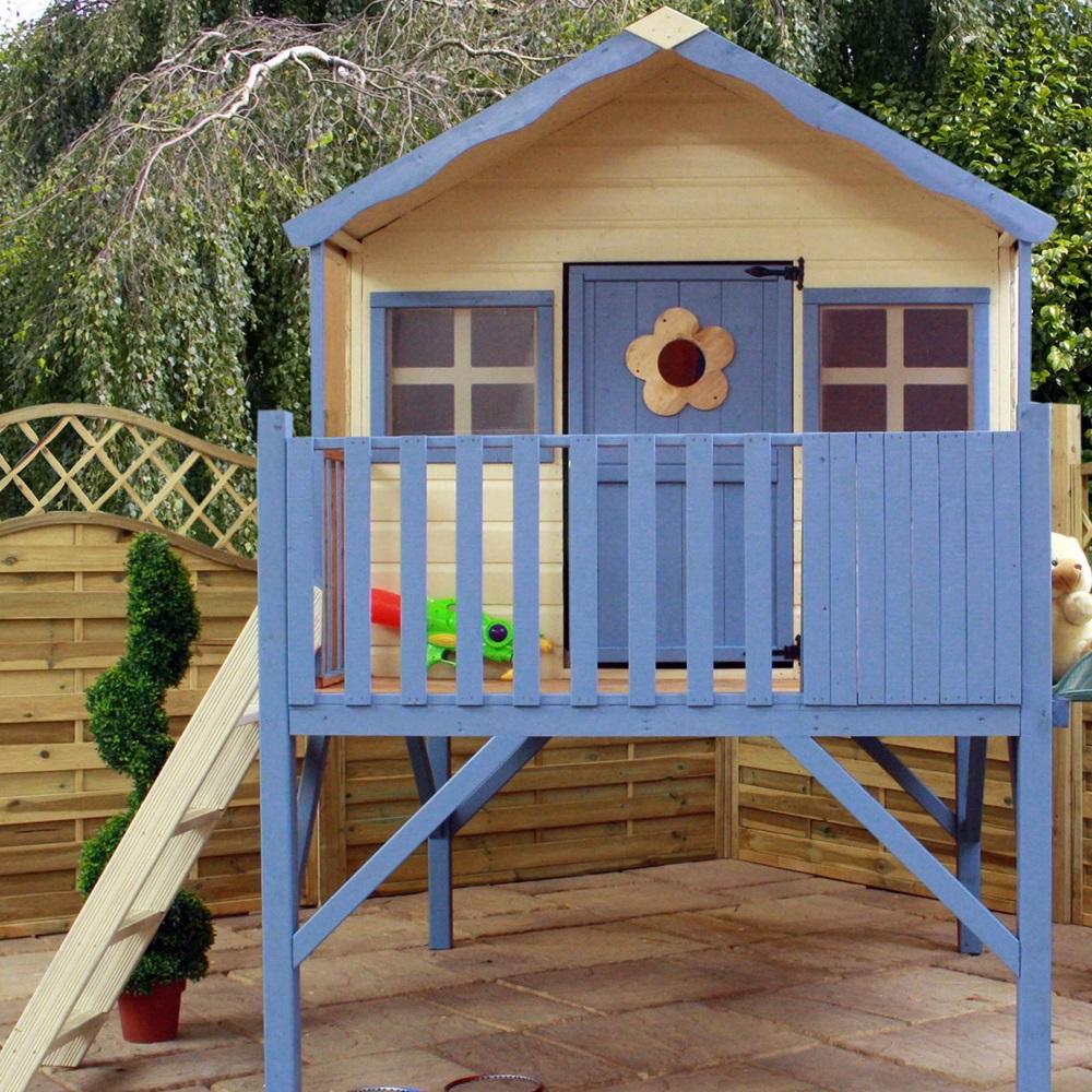 Mercia kids honeysuckle wooden playhouse with tower kids for Kids wooden play house