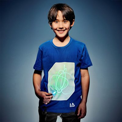 ILLUMINATED APPAREL KIDS SUPER GREEN GLOW T-SHIRT in Royal Blue