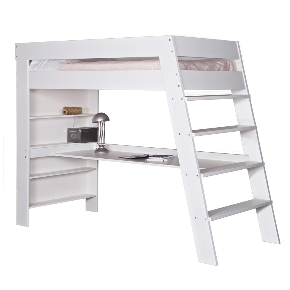 Julien Kids Loft Bed Desk In Brushed White Pine Single