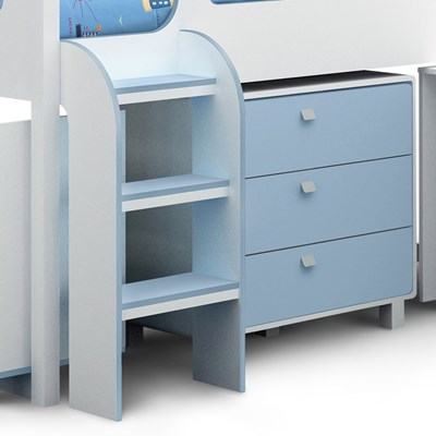 Kids Cabin Bed With Storage In White Blue Boys Beds Cuckooland & Kids Cabin Beds With Storage | Credainatcon.com