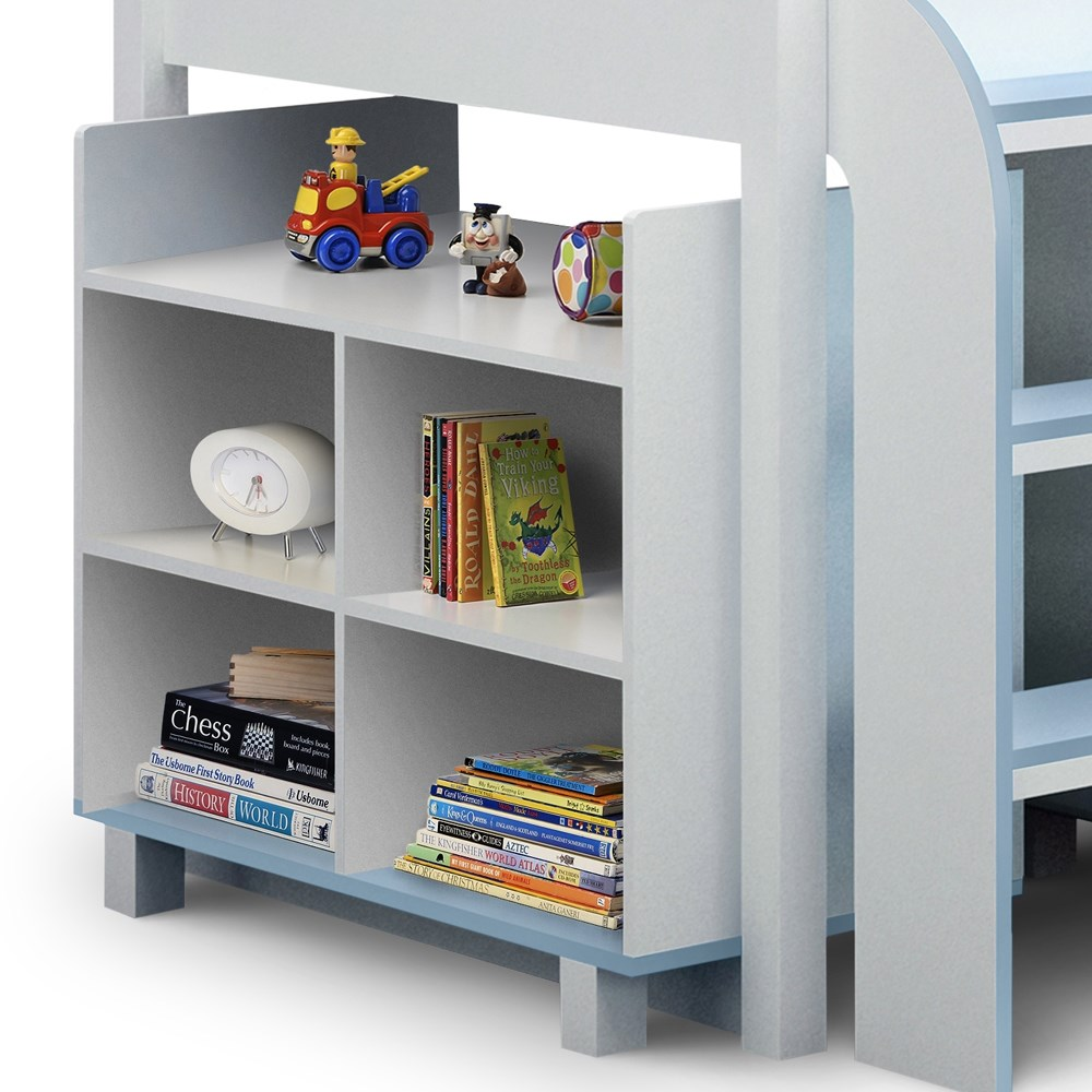 Kimbo Kids Cabin Bed With Storage In White & Blue Finish ...