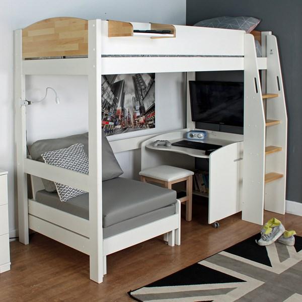 Urban Grey High Sleeper 1 Bed in White & Birch