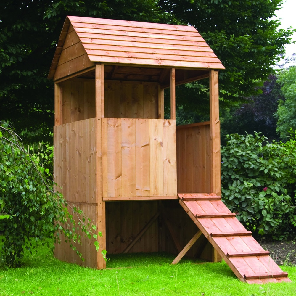 Mercia kids lookout wooden playhouse in solid pine kids for Kids outdoor playhouse