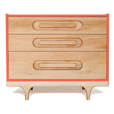 KALON STUDIOS KIDS CARAVAN DRESSER in Maple & Red
