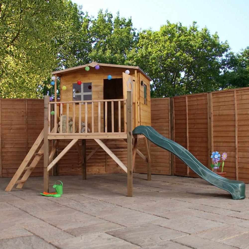 mercia kids rose playhouse with tower slide mercia. Black Bedroom Furniture Sets. Home Design Ideas
