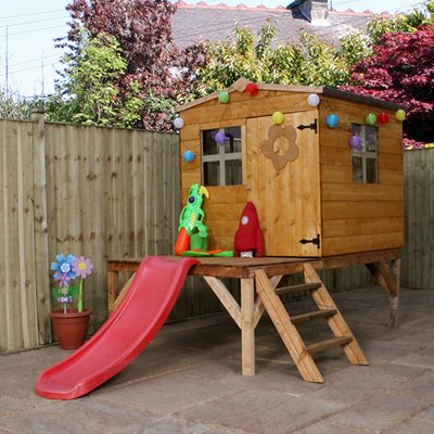 Kids Bluebell Wooden Playhouse with Tower & Slide