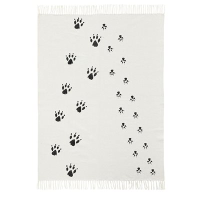 Neo Paw Print Black and White Kids Rug