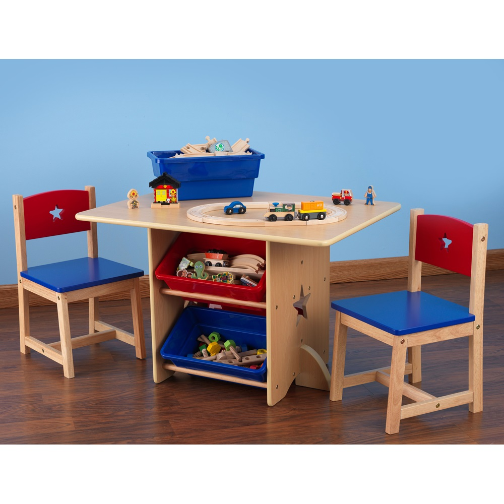 kids table and chair set in star design boys bedroom