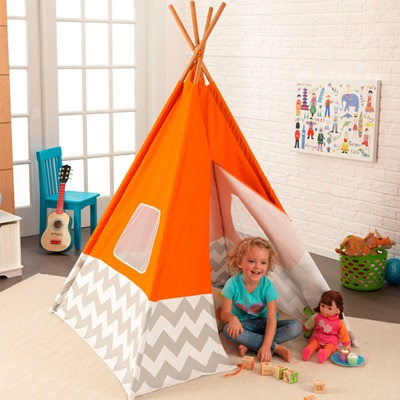 KIDS TEEPEE PLAY TENT in Orange, Grey & White