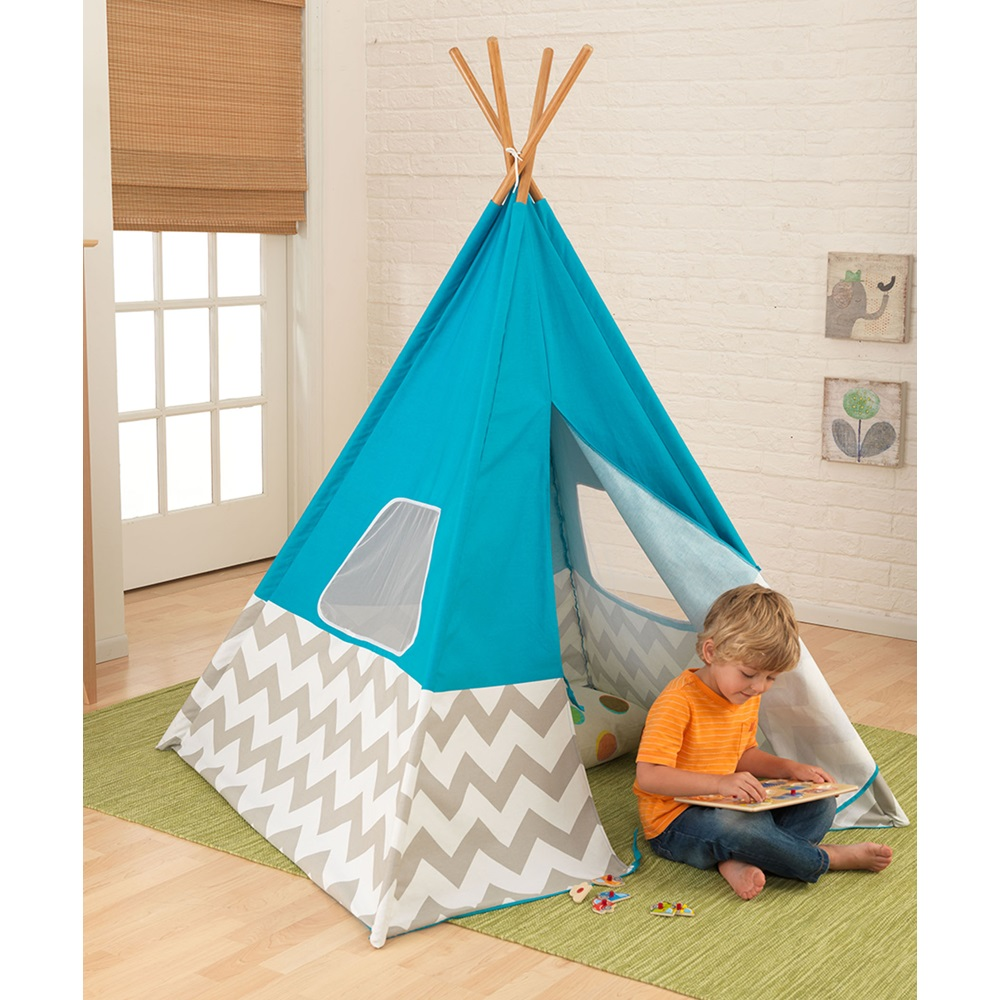 Kids Teepee Play Tent In Turquoise Grey White