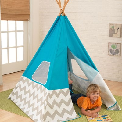 Kids-Play-Tent-Teepee-Turquoise-Tipi-Kid-Kraft.  sc 1 st  Cuckooland & Kids Teepee Play Tent In Turquoise Grey u0026 White - Children | Cuckoola