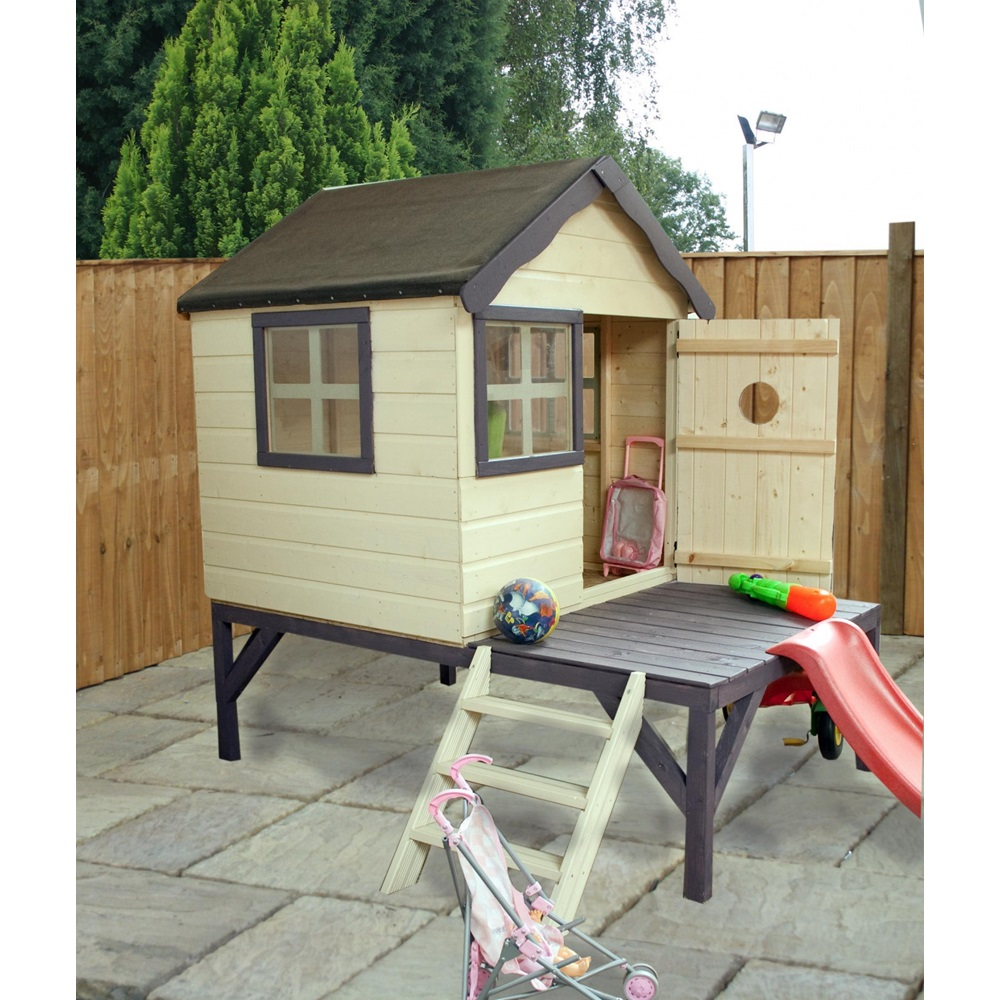 mercia kids snug pine playhouse with tower slide kids. Black Bedroom Furniture Sets. Home Design Ideas