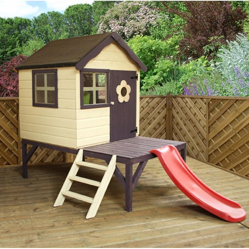 Mercia kids snug pine playhouse with tower slide for Play house children