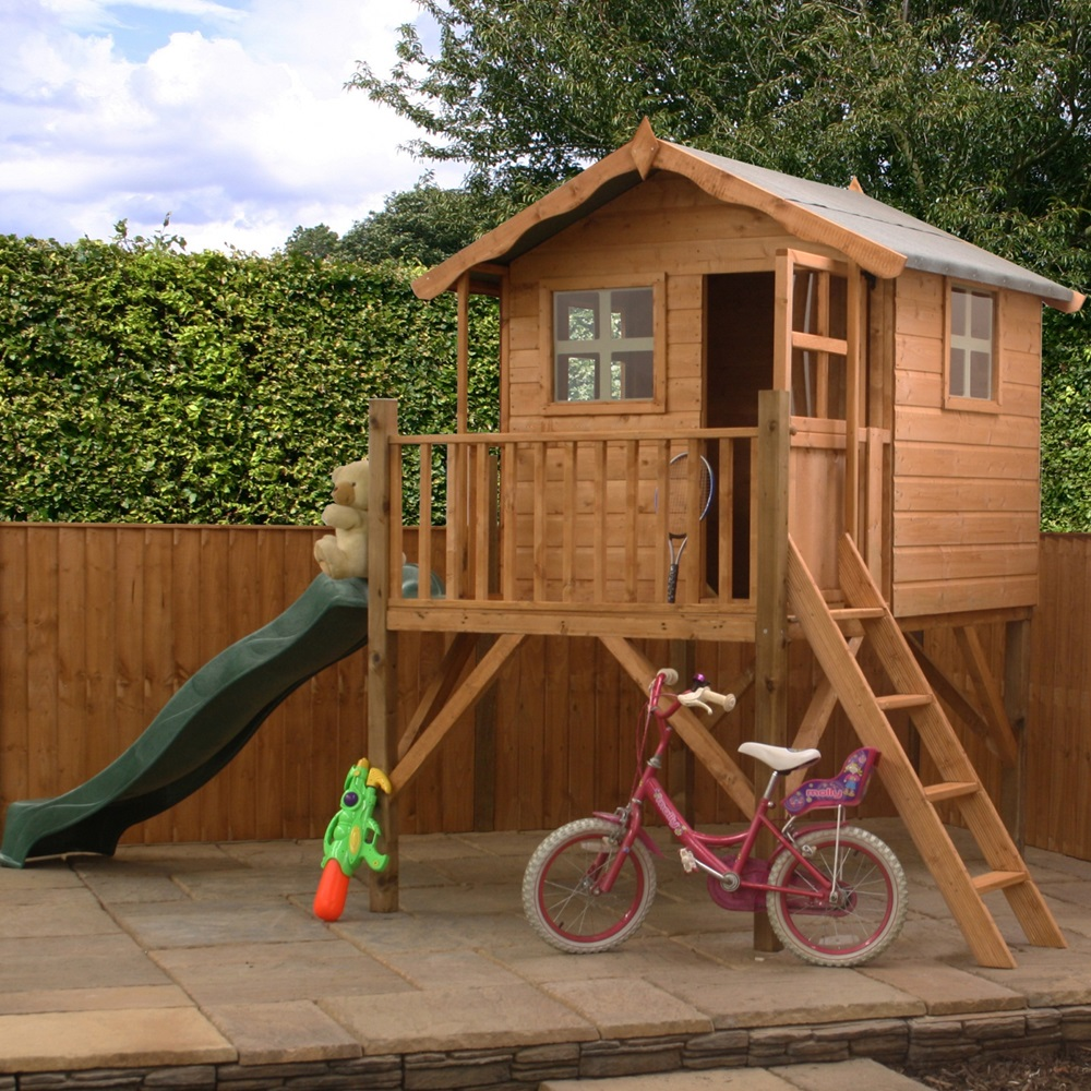 mercia kids poppy wooden playhouse with tower kids. Black Bedroom Furniture Sets. Home Design Ideas