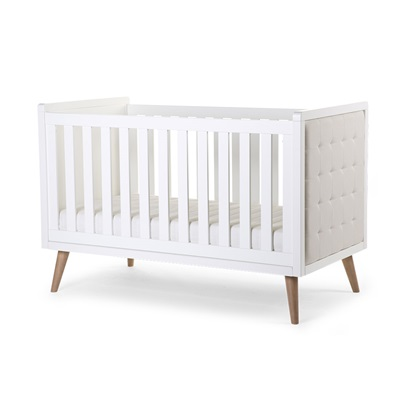 RETRO RIO UPHOLSTERED BABY & TODDLER COT BED in White