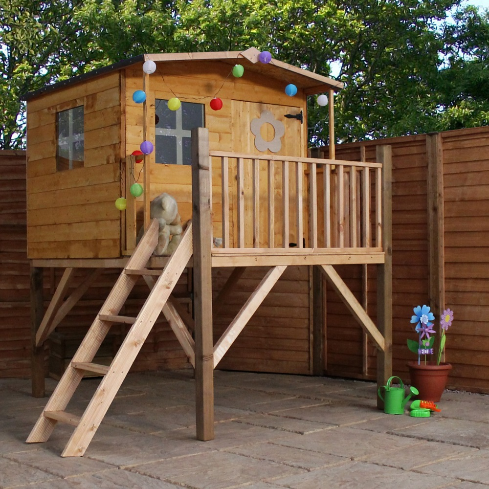 Mercia kids rose playhouse with tower mercia garden for Childrens play house