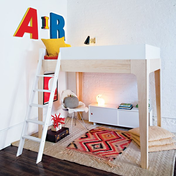 Oeuf Kids Perch Loft Bed in White and Birch