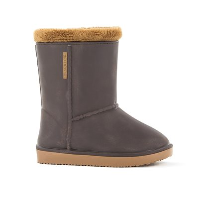 Waterproof Sheepskin Style Kids Welly Snug-Boots in Brown