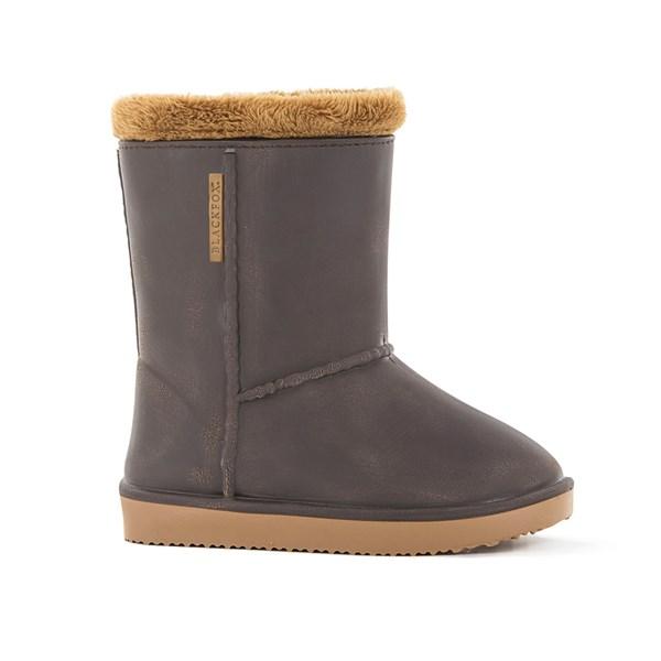 Waterproof Sheepskin Style Kids Welly Snug-Boots in Brown