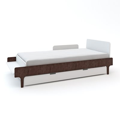 Oeuf River Single Bed with Optional Trundle in White & Walnut