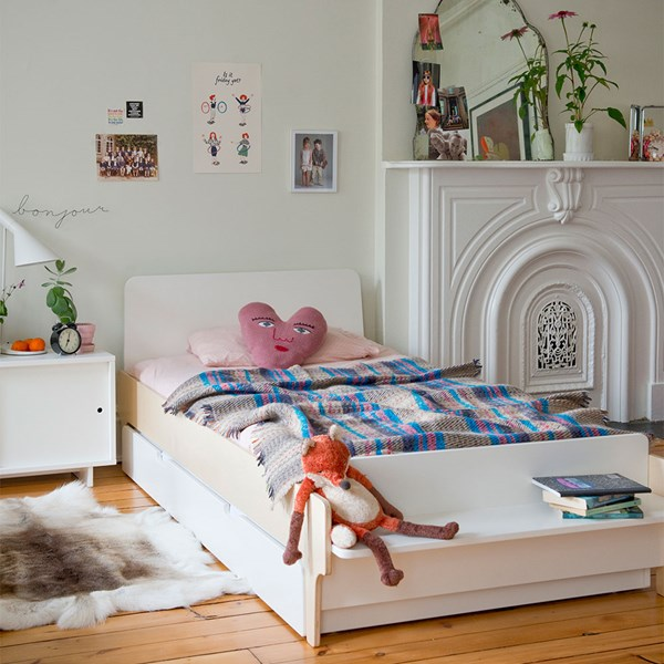 Oeuf Kids River Single Bed with Optional Trundle in White and Birch