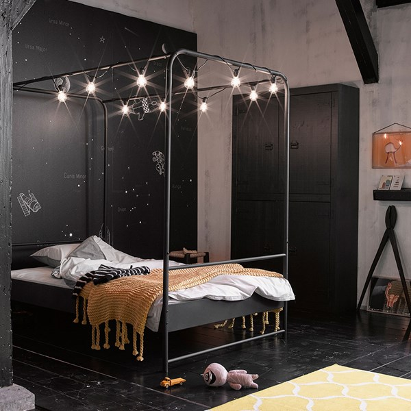 Small Double Black Metal Four Poster Bed