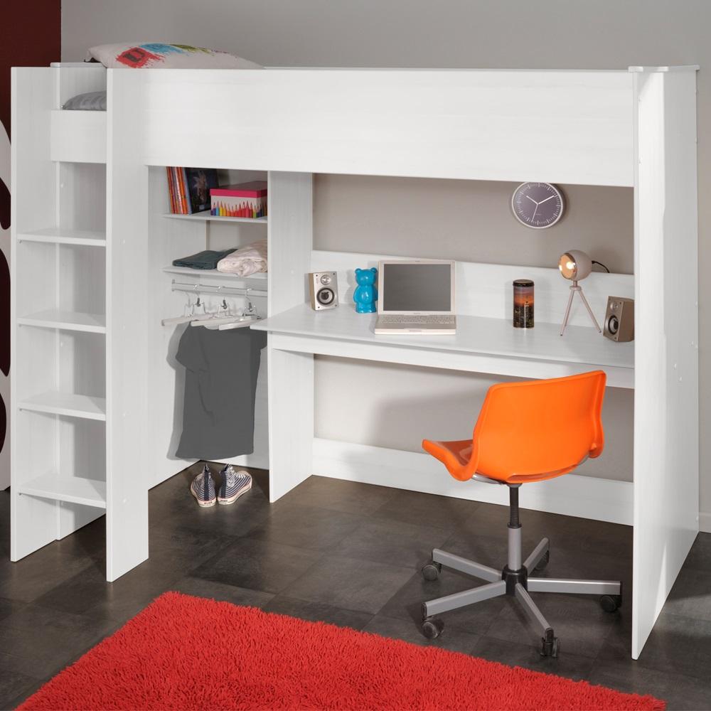 Kids swan high loft sleeper in white with storage kids beds cuckoo - Lit mezzanine ado design ...