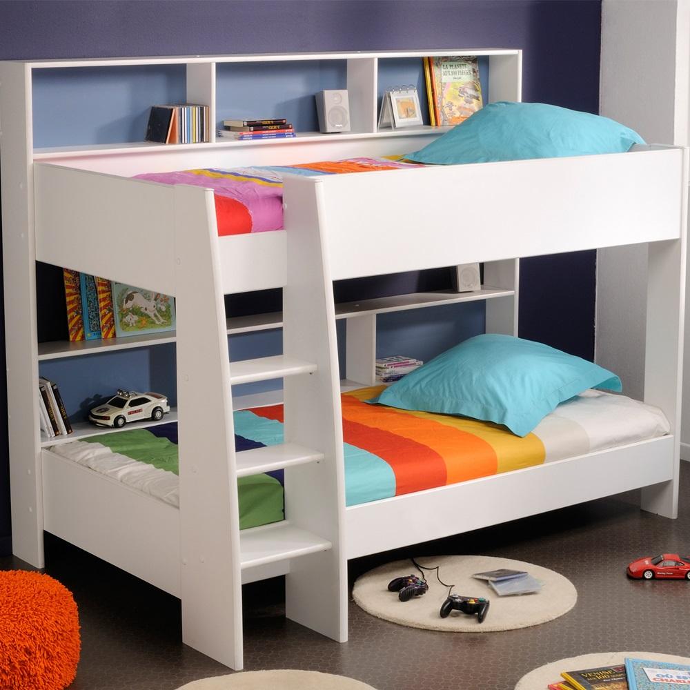 Parisot kids tam tam bunk bed in white with reversible colour shelves kids avenue cuckooland - Www parisot com ...