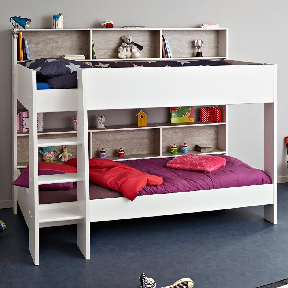 Childrens bunk bed in white grey tam tam bunk beds for Toddler bunk beds