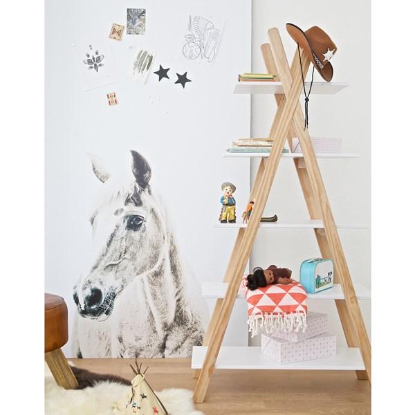 White and Pine Scandinavian Tipi Bookshelf