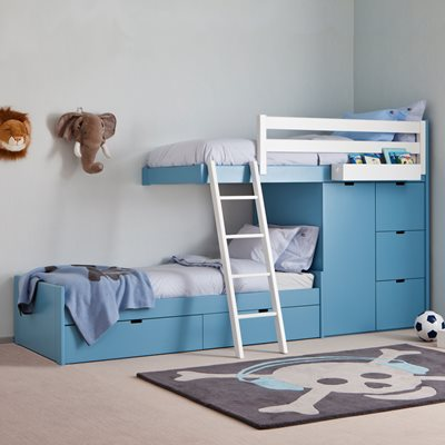 KIDS 3 TIER TRAIN BED with Wardrobe Storage