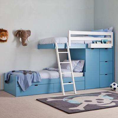 Kids 3 Tier Train Bed with Wardrobe Storage - Kids Beds   Cuckooland