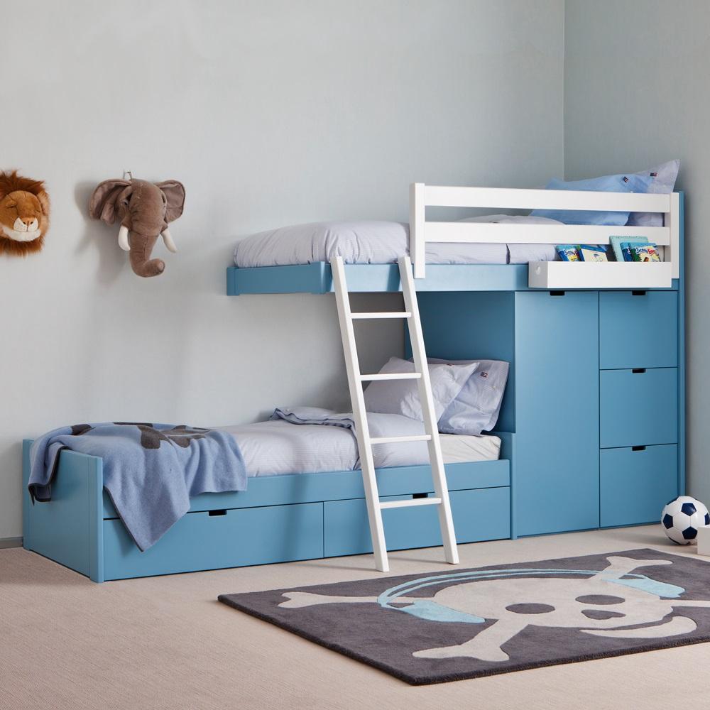Kids 3 Tier Train Bed With Wardrobe Storage Kids Beds