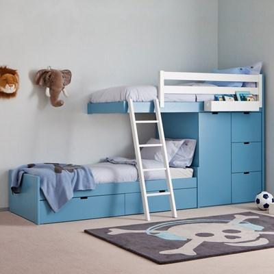 kids 3 tier train bed with wardrobe storage